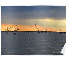 Sunset, Lake Pammamaroo, Outback, NSW, Menindee Poster