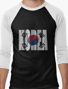 Korea flag Men's Baseball ¾ T-Shirt