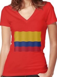 Colombian Flag Women's Fitted V-Neck T-Shirt
