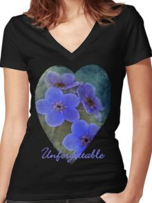"""Tee Shirt / Hoodie """"Unforgettable"""" Women's Fitted V-Neck T-Shirt"""