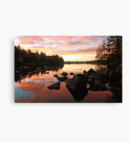 Fall Color - Sunset at Highland Lake Canvas Print