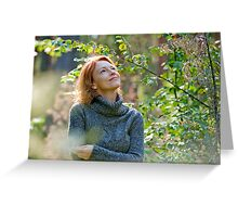 Portrait of woman in nature Greeting Card