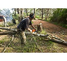 Chainsawing Photographic Print