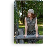 Woman with cap in nature Canvas Print