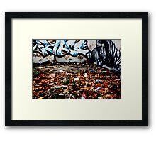 Autumn Leafs Against Graffiti Wall Framed Print