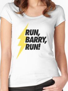 Run, Barry, Run! (Black on White) Women's Fitted Scoop T-Shirt