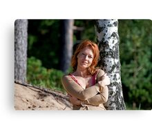 Woman at the birch Canvas Print