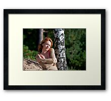 Woman at the birch Framed Print