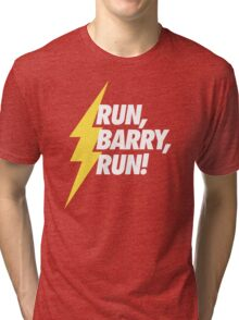 Run, Barry, Run! (White on Red) Tri-blend T-Shirt
