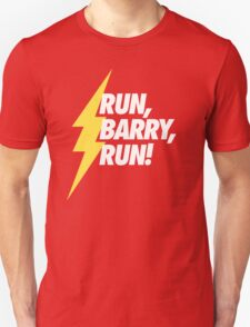 Run, Barry, Run! (White on Red) T-Shirt