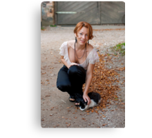Beautiful woman with cat Canvas Print