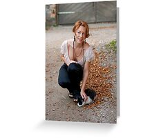 Beautiful woman with cat Greeting Card