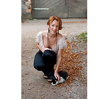 Beautiful woman with cat Photographic Print