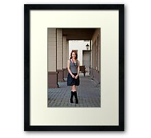 Beauty woman on the pavement street. Framed Print