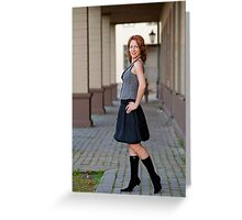 Beauty woman on the pavement street. Greeting Card