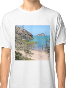 Island in the bay with trees and beach Classic T-Shirt