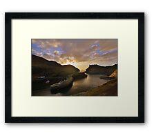 Cornwall: Last Light at Boscastle Harbour Framed Print