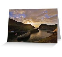 Cornwall: Last Light at Boscastle Harbour Greeting Card