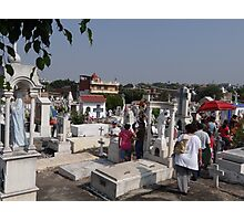 People visiting their dead persons at All Souls' Day Photographic Print