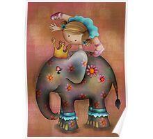 Circus tricks on an elephant Poster