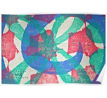 Printmaking Blue & Pink Poster