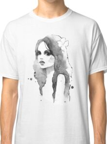 Romantic girl. Watercolor painting. Black and white Classic T-Shirt