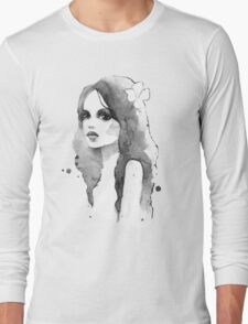 Romantic girl. Watercolor painting. Black and white Long Sleeve T-Shirt