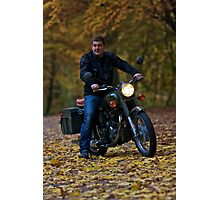 Jakub as a easy driver . Tribute to Royal Enfield  Model Bullet 350cc . pozdrowienia by Brown Sugar . Views (260) dziękuję ! Photographic Print