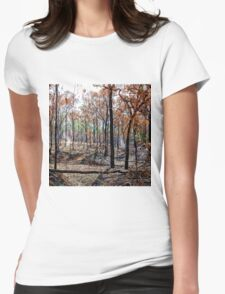 Smoky landscape after a fire Womens Fitted T-Shirt