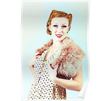 Vintage dressed woman Poster