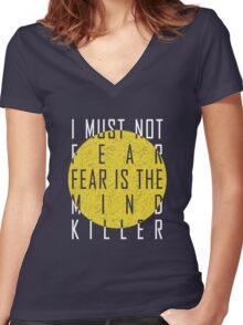 Dune - The Litany Against Fear (White) Women's Fitted V-Neck T-Shirt