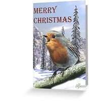 Red Robin Singing Merry Christmas. Greeting Card