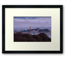 Church in the fog at sunrise Framed Print