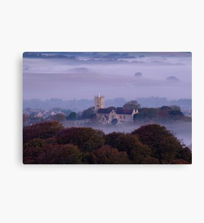 Church in the fog at sunrise Canvas Print