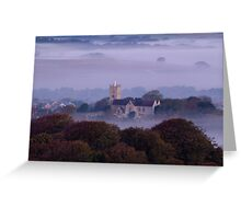 Church in the fog at sunrise Greeting Card