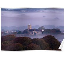 Church in the fog at sunrise Poster