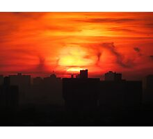 Fire in the sky, New York City  Photographic Print