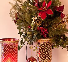 Holiday - Christmas Poinsetta Arrangement with multi glass colors by Sherry Hallemeier