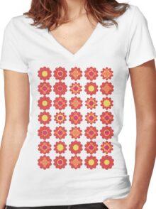 Flower T-shirt Women's Fitted V-Neck T-Shirt