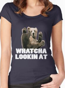 WHATCHA LOOKIN AT FUNNY GRIZZLY BEAR Women's Fitted Scoop T-Shirt
