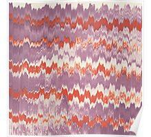 Modern pink orange watercolor ikat pattern Poster