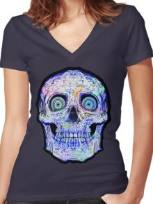 Spaceskull Women's Fitted V-Neck T-Shirt