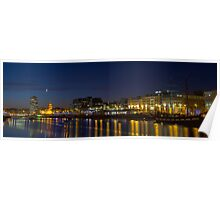 River Liffey with a boat and reflections in the water Poster