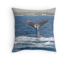 Extended Fluke Up Dive - Humpback Whale Throw Pillow