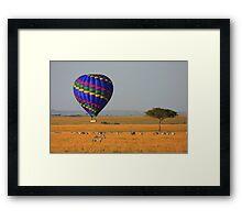 Hot Air Balloon Over the African Plains Framed Print
