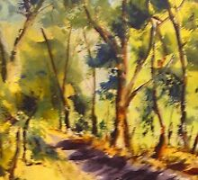 Along the Pyalong-Seymour Road, Victoria, Australia by Margaret Morgan (Watkins)