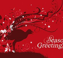 Graphic lyrebird red Australian Christmas card by Sarah Trett