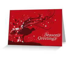 Graphic lyrebird red Australian Christmas card Greeting Card