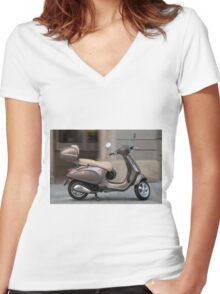 Classic Vespa scooter Women's Fitted V-Neck T-Shirt
