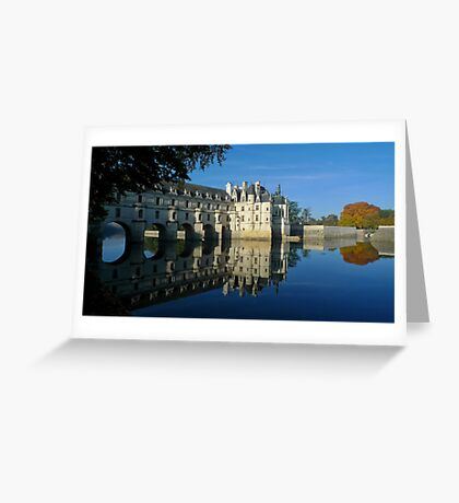 Chenonceau castle in autumn Greeting Card